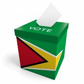 stock photo of ballot-paper  - A ballot box bearing the Guyanese flag - JPG