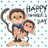 pic of baby-monkey  - Greeting card Two monkeys a father and a baby son - JPG