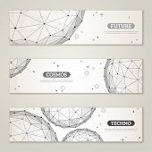 stock photo of dots  - Banners set with wireframe mesh polygonal elements - JPG