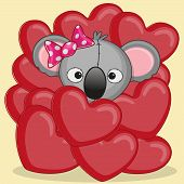 pic of koala  - Valentine card with Koala in hearts on a yellow background - JPG