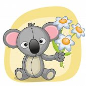 image of koala  - Greeting card Koala with flowers on a yellow background - JPG