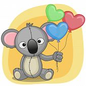 picture of koala  - Greeting card Koala with balloons on  a yellow background - JPG