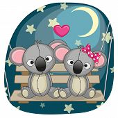 picture of koala  - Valentine card with Lovers Koalas on the swing - JPG