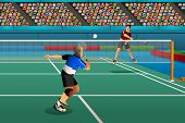 image of badminton player  - A vector illustration of men playing badminton in the competition for sport competition series - JPG