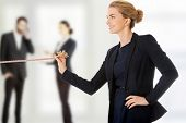 foto of rope pulling  - Happy businesswoman easy pulling a rope - JPG