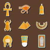 stock photo of anubis  - Set of stickers on ancient Egypt theme for your design - JPG