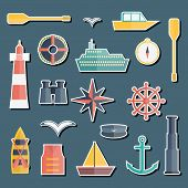 image of life-boat  - Set of  flat boating stickers for your design - JPG