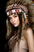 image of indian beautiful people  - Beautiful ethnic lady with roach on her head - JPG
