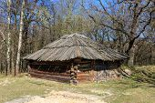 pic of wooden shack  - Traditional ukrainian wooden shed in open - JPG