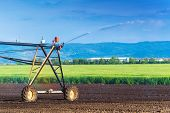 foto of sprinkler  - Automated Farming Irrigation Sprinklers System in Operation on Cultivated Agricultural Field on a Bright Sunny Summer Day - JPG
