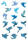 image of peace  - Origami paper stylized blue flying pigeon and dove birds set - JPG
