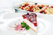 stock photo of cheesecake  - cheery cheesecake - JPG