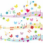stock photo of heart sounds  - Colorful music design with stave butterflies hearts and flowers - JPG