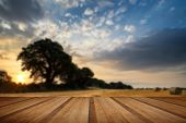 pic of hay bale  - Beautiful Summer sunset over field of hay bales in countryside landscape with wooden planks floor - JPG