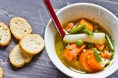 picture of vegetable soup  - vegetable soup with carrots green beans potatoes peas and onions into pieces and blend vegetables - JPG