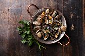 foto of clam  - Shells vongole venus clams with parsley in copper cooking dish on dark wooden background - JPG