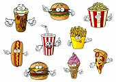 stock photo of hot dogs  - Colorful cartoon fast food and takeaways characters with hot dog - JPG