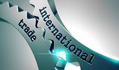 stock photo of international trade  - International Trade on the Mechanism of Metal Gears - JPG
