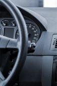 stock photo of steers  - Steering wheel in a modern car - JPG