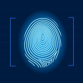 foto of fingerprint  - Fingerprint human identity mark blue  vector illustration - JPG