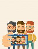 stock photo of selfie  - A three happy men taking a selfie using smartphone - JPG