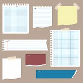 picture of staples  - A set of ripped notepaper with tape and staples - JPG