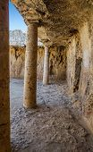 stock photo of king  - Interior of the Paphos necropolis known as Tombs of the Kings - JPG