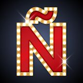 pic of letter n  - Vector illustration of realistic retro signboard letter  - JPG