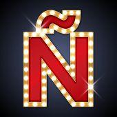 image of letter n  - Vector illustration of realistic retro signboard letter  - JPG