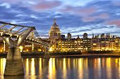 foto of london night  - London St Pauls cathedral view over River Thames at night - JPG
