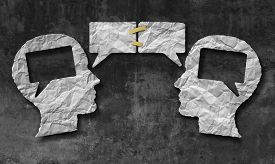 pic of blog icon  - Speaking together media concept as two crumpled pieces of paper shaped as a human head with talk bubbles or speech bubble icons taped as a communication symbol for business understanding and compromise agreement - JPG
