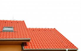 stock photo of red roof  - Roof house with tiled roof isolated on white background - JPG