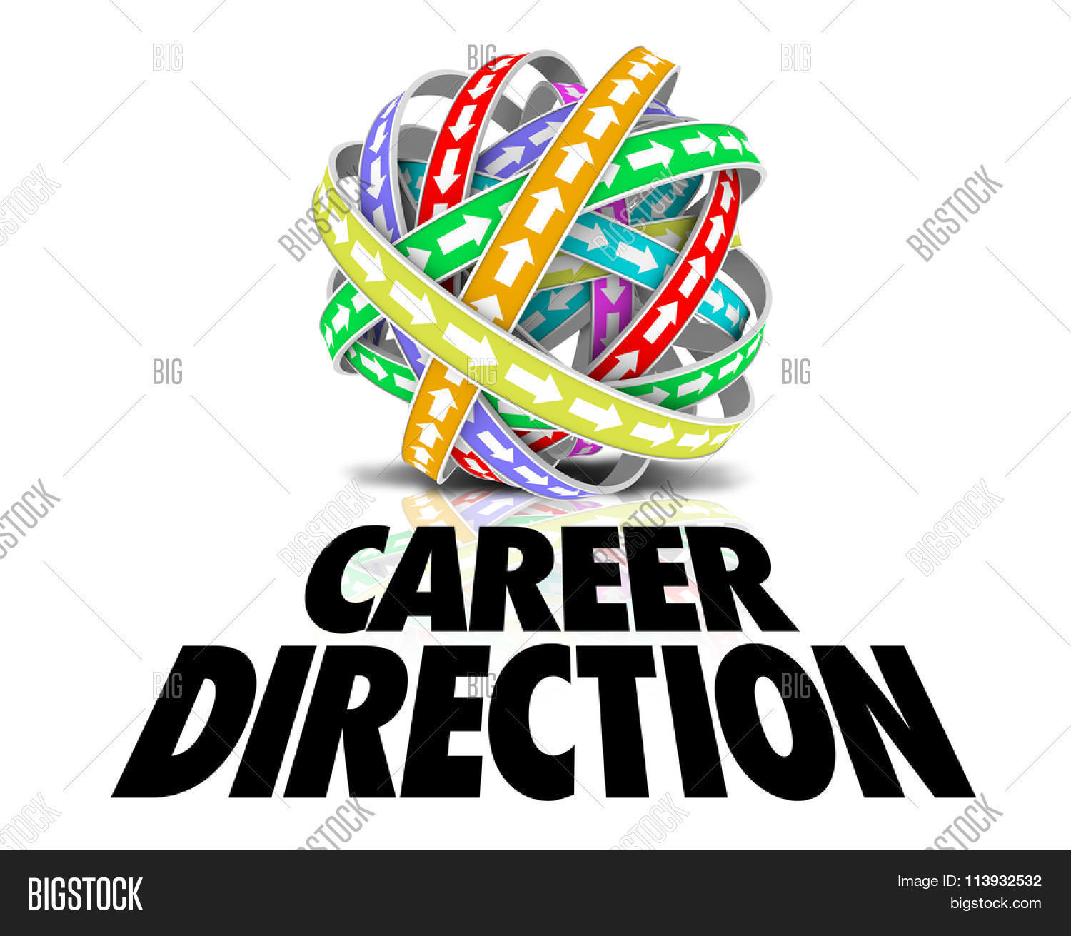 Career Direction words under a ball or sphere of color bands with ...