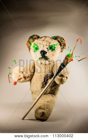 Teddy Bear Walking With Paintbrush As A Wizard