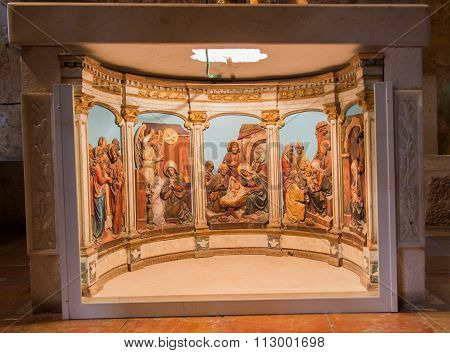Bethlehem, Israel - July 12, 2015: The Reliefs With The Scenes From Virgin Mary Life On The Altar Of