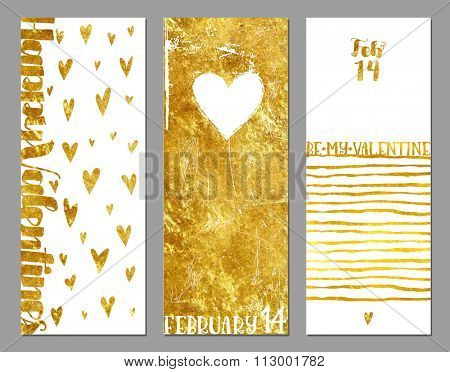 Gold Foil Valentine Banners - Valentine's vertical banners with hearts and gold foil texture on white background, abstract, whimsical, hand drawn backgrounds and elements