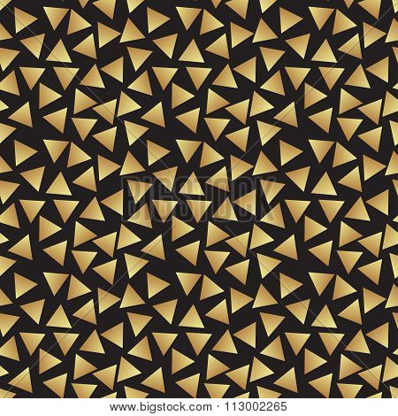 Seamless Vintage Abstract Pattern With Triangles In The Style Of 80's. Fashion Background In Mem