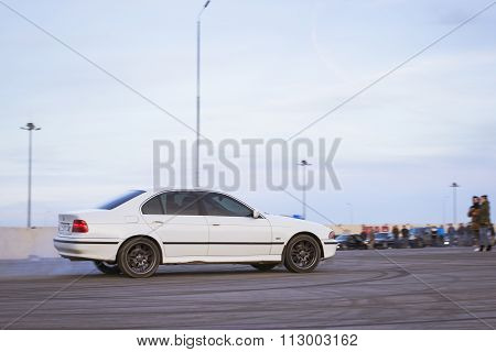 White Old-car Bmw To Drift