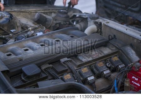 Engine Compartment, Motor 5-series 525, Old-car Bmw