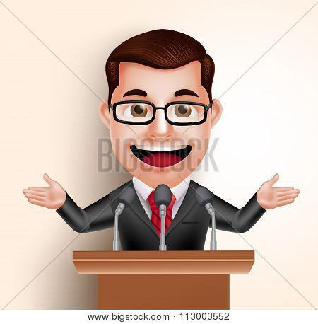 Vector Character Happy Politician Man or Speaker in Conference Speech