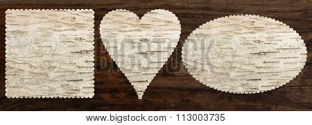 birch bark texture set with heart, oval and square shapes, top view