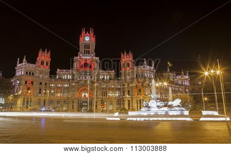 Night View Of Madrid City Council With Cibeles Fountain