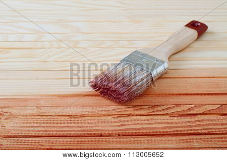 Wooden Board Painted With Varnish
