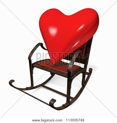 Heart In A Rocking Chair. 3D Object On A White Background.