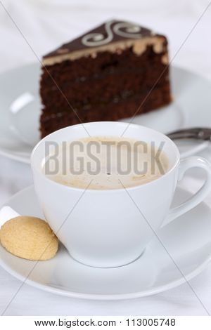 Hot Coffee And Cake Chocolate Tart Dessert