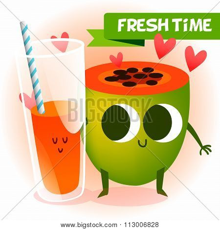 Illustration with funny characters. Love and hearts. Funny food. time fresh. fresh papaya. Healthy f