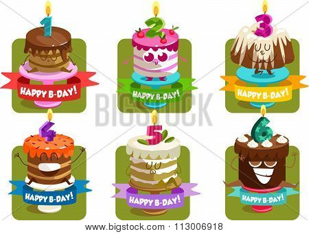 Greeting card for birthday. Jolly good cartoon cake. Happy Birthday. Vector illustration. Vector ill
