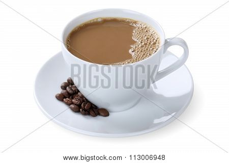 Milk Coffee Cafe Con Leche Latte In Cup Isolated