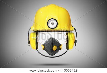 Construction helmet with earphones