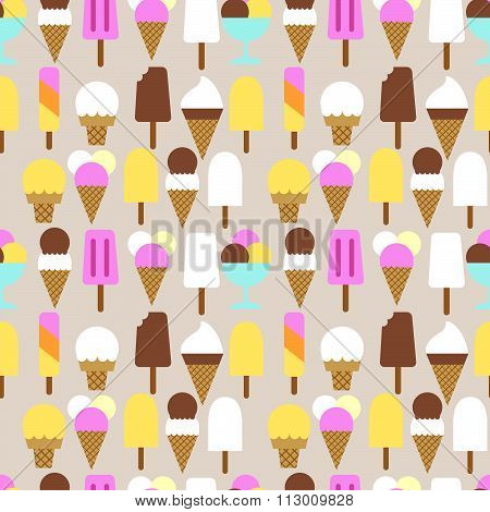 Vector set  icons of ice cream. Flat style. Girl with ice cream.